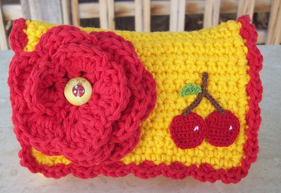 RESERVED FOR PATTI Do not purchase unless you are Patti Yellow Orange and Red with Cherries Crocheted Cotton Little Bit Purse