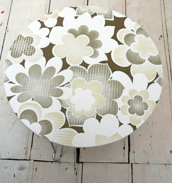 Etsy Round Coffee Tables: Upcycled Round Coffee Side Table With Original 70's By