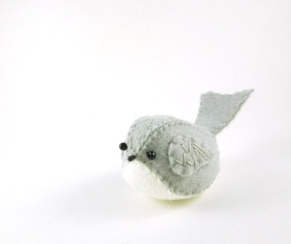 Light Gray and White Embroidered Wool Felt Bird