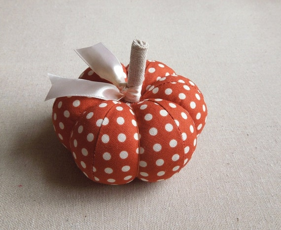 Burnt Orange and White Polka Dot Pumpkin Pincushion