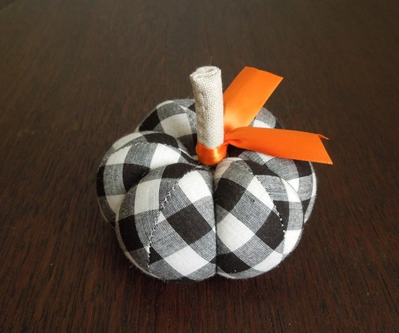 Black and White Plaid Fabric Pumpkin Pincushion