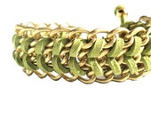 Chain bracelet Matte gold Light Green Chevron leather Bracelet pastel fashion metallic - Daniblu