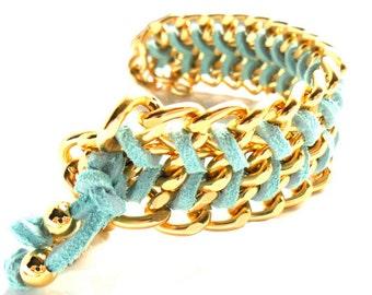 Chunky Bracelet Gold Chain Mint Chevron leather Cuff Arm candy Pastel Fashion Chain Bracelet Trendy Bracelet Hand woven bracelet gift x her