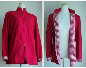 Vintage 1980's Jacket //  Red Gingham Lined Spring Summer Jacket // Zip Up Coat