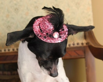 Cute pink    color  mini  hat with   feather  for dog or cat