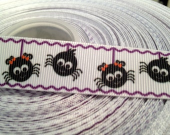 3 yards 7/8' Oh so Sweet Halloween Spiders sold by the yard