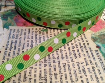 "3/8"" CHRISTMAS Dots Grosgrain Ribbon"