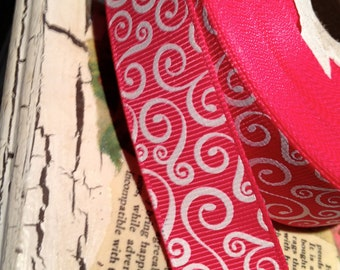 "3 Yards 7/8""  HOT PINK and White  SWIRL Grosgrain Ribbon"
