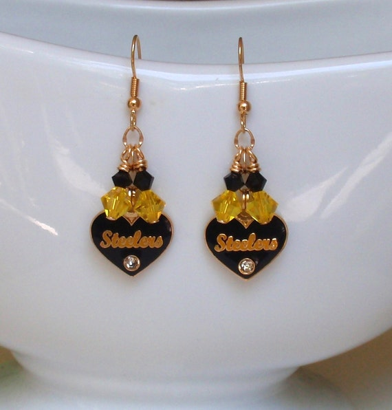 Steeler Inspired Love Ya From the Bottom of My Black and Gold Heart Earrings