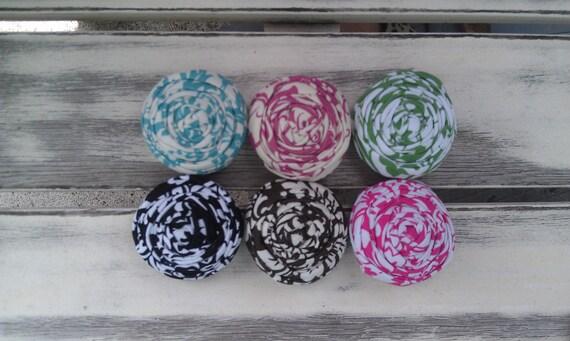 Classic damask fabric rosettes