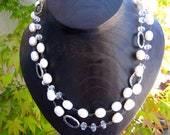 Convertible Necklace-Bracelet Chubby Pearl, Rock Crystal and Sterling Silver