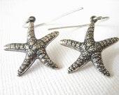 Sea Star Earrings - Antiqued Sterling Silver - Starfish Earrings - Beach Jewelry