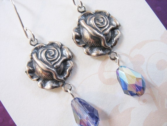 Silver Rose Earrings with Tanzanite Teardrops - Antiqued Sterling Silver and Lavender
