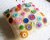 Felted Wool Pincushion with Button Flowers in Candy Colors Pin Cushion Mini Pillow OOAK