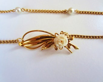 Gold necklace, gift for her. Vintage ivory white rose brooch pendant. Upcycled chain. OOAK gift. Flower jewelry.