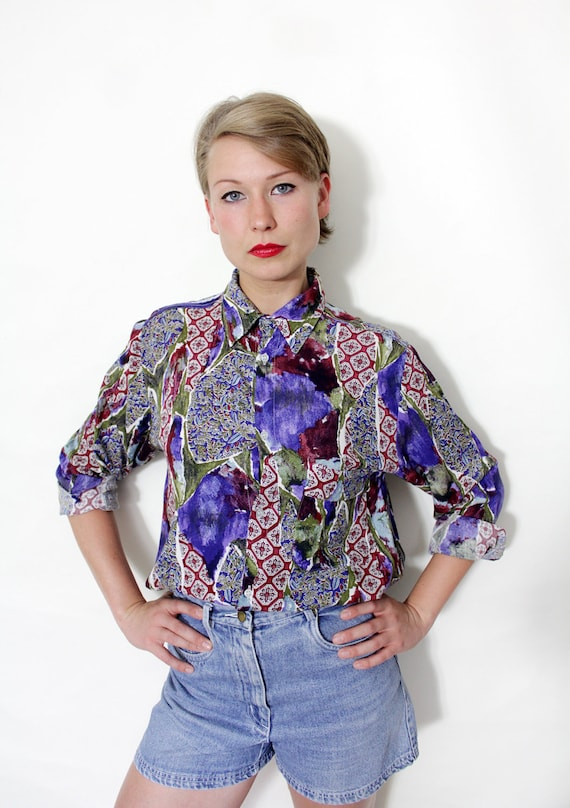 Vintage shirt / mixed print button up / size S-M