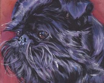 Brussels Griffon portrait Canvas print of LA Shepard painting 8x8 dog art