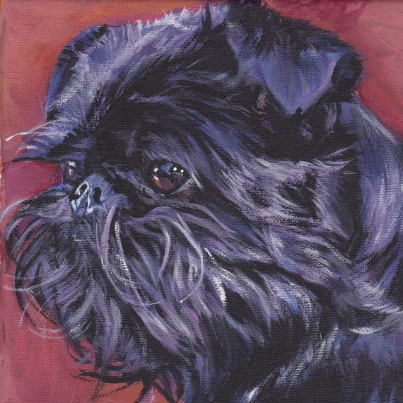 Brussels Griffon Canvas print of LA Shepard painting 12x12 dog art