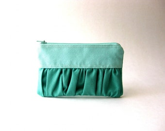 BLACK FRIDAY - Coin purse, zipper pouch, gadget case - The True Romantic Coin Purse in mint / emerald