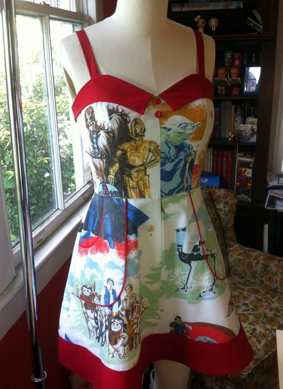 Star Wars Trilogy Pinup Dress with Red Collar- Upcycled OOAK