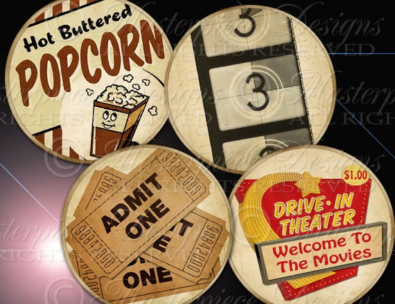 Movie Time / Hollywood / Old Movies / Popcorn  - 2.5 Inch Round Designs Digital JPG Collage Sheet