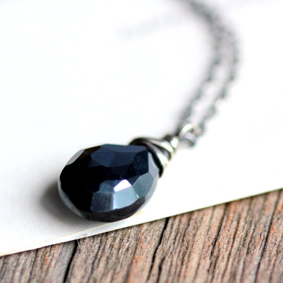 Black Necklace, Mystic Black Spinel Wire Wrapped Pendant on Sterling Silver Chain - Ink