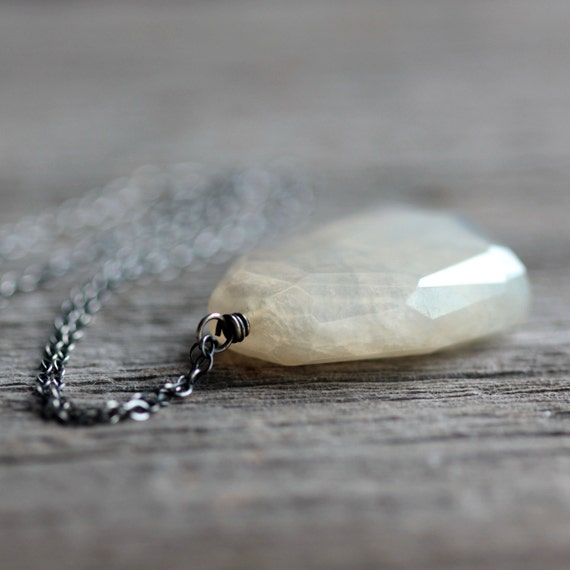 White Pendant Necklace, White Mystic Pearl Chalcedony on Long Sterling Silver Chain - Ice Sheet