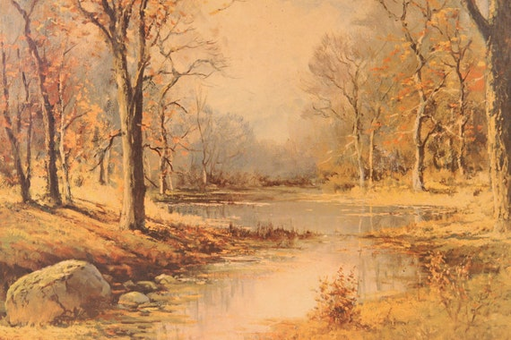 Vintage Forest River Creek Scene Wall Hanging By