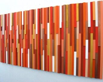 Orange Wall Art, Wood Wall Art, Wood Sculpture, Modern Decor, Home And Living