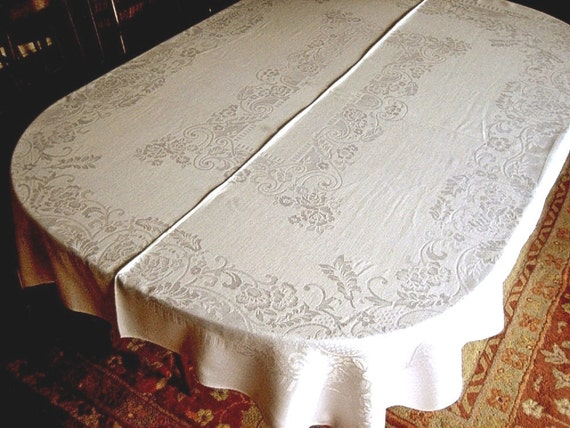 DAMASK tablecloth buttery cream ROMANTIC impressed flowers