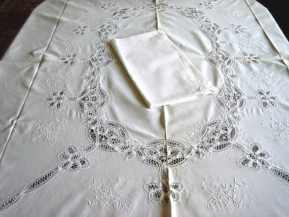 Battenberg Lace TABLECLOTH vintage But NEW Linen Tape Lace White Embroidered 6 NAPKINS 82 inches