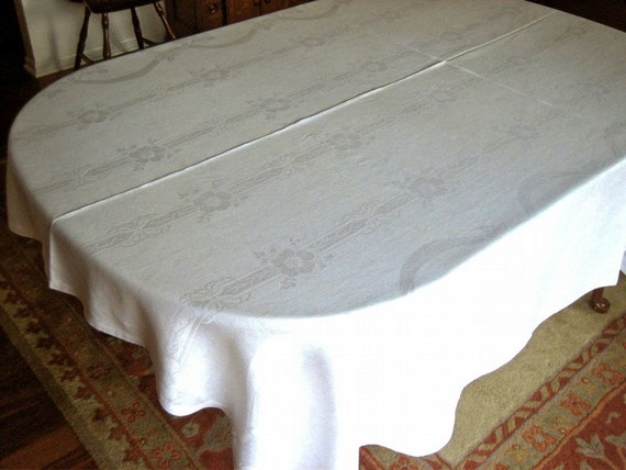 DAMASK Tablecloth Vintage Pure Linen Sleek Bone White Smooth Quality Celtic Ribbons and Flowers 90""