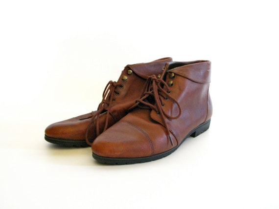 Lace Up Brown Leather Ankle Boots - Size 7.5