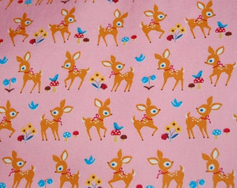 Kawaii Japanese Import Cosmo Textiles Pink Bambi Deer Bluebird Canvas Fabric 1/2 yard Half Yd Out of Print Vintage Retro