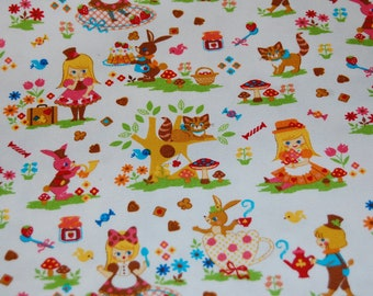 Kawaii Japanese Fairytale White Alice in Wonderland Fabric 1/2 yard Cosmo Textiles Half Yd OOP Out of Print Hard To Find
