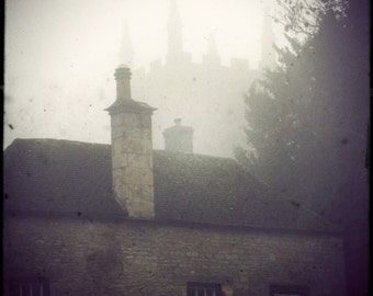 "Dreamy English Village Photograph ""Fog and Spires"" Vintage Fairy Tale Photo - Europe Travel Photography"