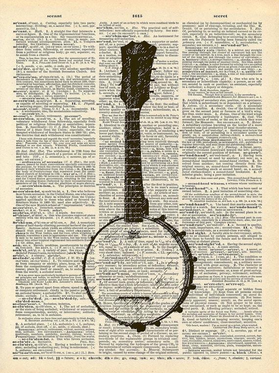 Vintage Book Art Print - Musical Instrument Banjo - Upcycled Antique Book Print - Folk Music Art - Altered Book Art Print