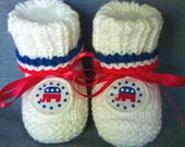 Custom handmade knit Republican Elephant Baby Patriotic  Booties  4th of July -Democratic donkey booties also available