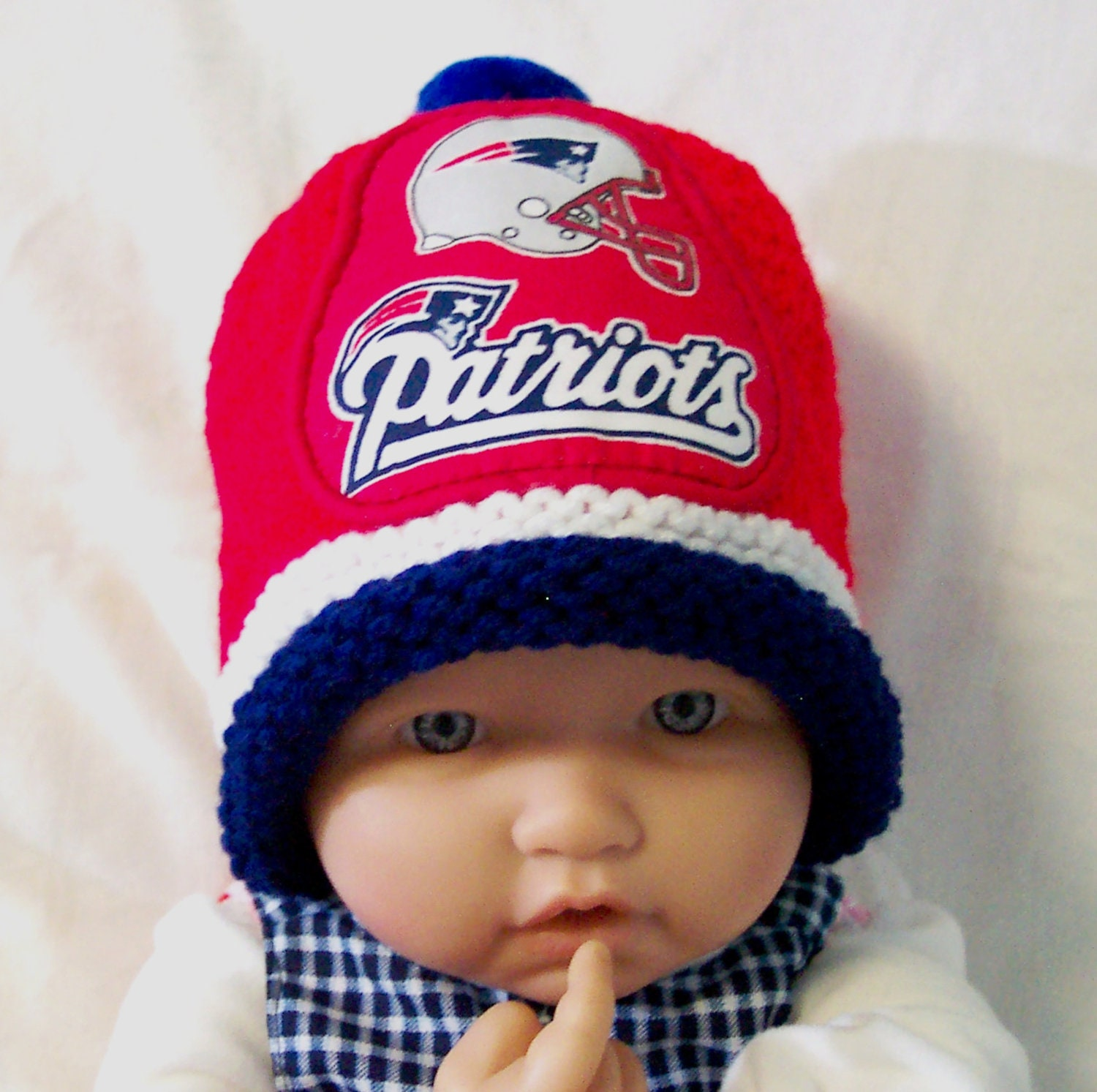 Hand Made Knit Nfl New England Patriots Baby Hat 0 12m Cute