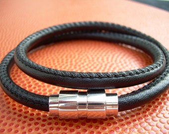 Mens Leather Bracelet,Premium Stitched Nappa Leather,Fathers Day, Groom, Stainless Steel Magnetic Clasp, Mens Jewelry, Leather Bracelet