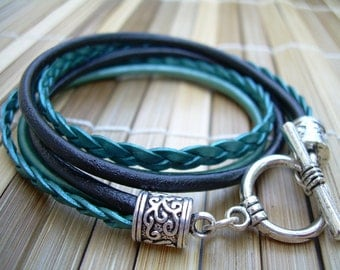 Womens  Leather Bracelet , Toggle Closure,  Metallic Teal and Black, Double Wrap, Womens Bracelet, Womens Jewelry