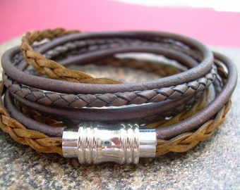 Triple Wrap Leather Bracelet, Mens Bracelet, Mens Leather Bracelet, Magnetic Clasp Bracelet, Wrap Bracelet, Leather Jewelry, Womens Bracelet