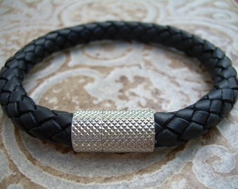 Mens Black Braided Leather Bracelet with Stainless Steel Magnetic Clasp, Mens Jewelry, Mens Bracelet, Mens Gift, Gift for him, Groomsmen