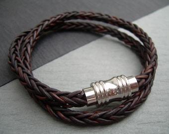 Leather Bracelet, Double Wrap, Stainless Steel Magnetic Clasp,Mens Bracelet, Womens Bracelet, Mens Jewelry, Womens Jewelry