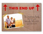 """Moving announcement, Change of Address - """"This End Up"""" - a printable photo card (No. 15004)"""
