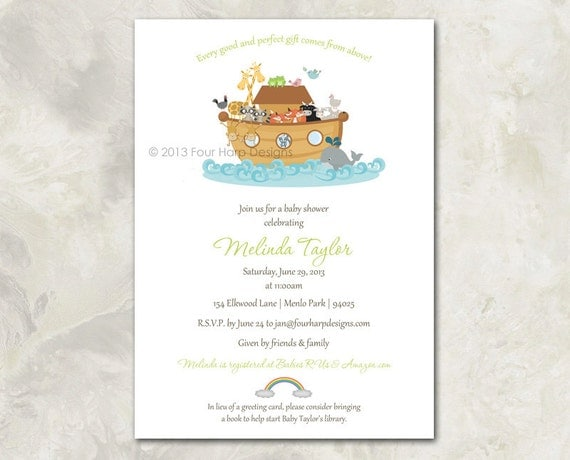 baby shower invitation noah 39 s ark by fourharpdesigns on etsy