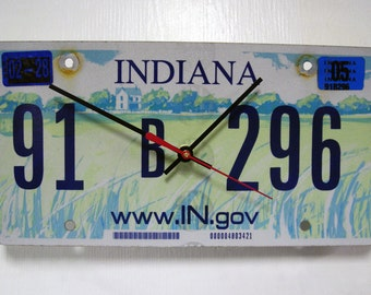 Indiana License Plate Wall Clock - IN License Tag - Farm Scene