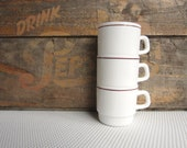 Reserved Vintage White with Maroon Band Stacking Restaurant Mugs Arcopal France