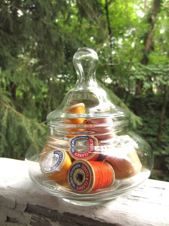 Vintage Clear Glass Apothecary Jar Small Wide Version