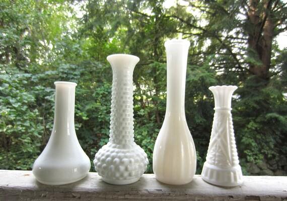 Vintage Milk Glass Vases set of 4 White Wedding Garden Table Setting